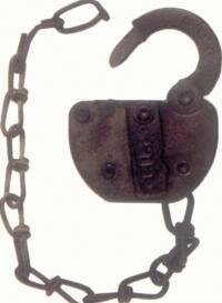 """Steel switch locks helped prevent tampering with railroad tracks and equipment. The """"switch key"""" was a badge of honor for many railroaders."""