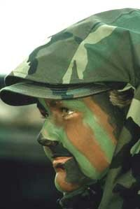 This U.S. Air Force airman applied face paint in a disruptive coloration pattern.