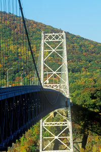 The Bear Mountain Bridge spans the Hudson River.