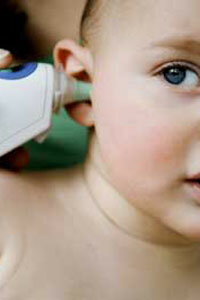 Aural thermometers use an infrared sensor to measure the temperature of energy radiating from your ear drum.