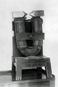 Behold the large horseshoe electromagnet used by English physicist and chemist Michael Faraday, around 1830.