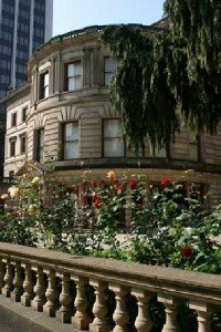 Pioneer Courthouse Square is decorated                                  with colorful swashes and greenery.
