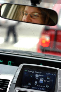 Car Gadgets Image Gallery An energy monitor displays a Prius' miles per gallon. See more pictures of car gadgets.