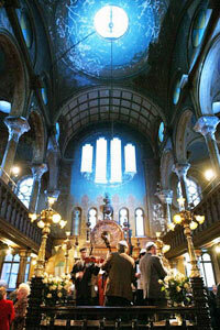 A Jewish klezmer band performs at a wedding in the historic Eldridge Street Synagogue in Manhattan's Lower East Side neighborhood.