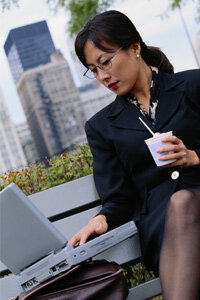 This woman may be getting a healthy dose of bacteria AND catching up on e-mail. See more staying healthy pictures.