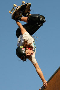 Shaun White competes in a men's skateboard event during the Summer X Games in 2008.