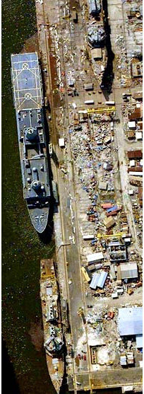 Northrop Grumman's Ingalis Shipyard in Pascagoula, MS where one Zumwalt is being built.