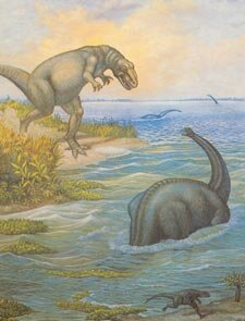 Allosaurus watches Camarasaurus in the water
