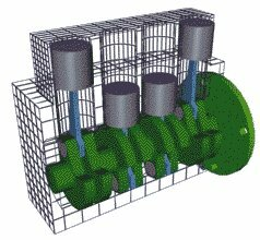 (Click on image to see animation) Inline - The cylinders are arranged in a line in a single bank.