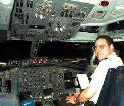 Joel Freeman, a commercial pilot, on a Boeing 727