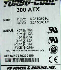 Personal computer power supply label. VSB is the standby voltage provided to the power switch.