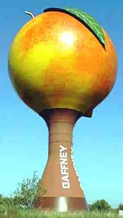 This water tower comes complete with leaf, stem and that funny crease that peaches have.