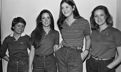 "Four UCLA students model the latest in college ""preppy"" fashion in this 1980 photo."