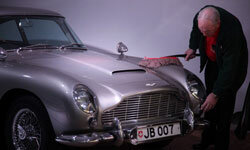 "The Aston Martin DB5 driven by James Bond in the film ""Goldfinger"""