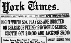 On Sept. 29, 1920, the front page of The New York Times ran this headline about the Black Sox scandal.