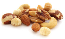 A bowl of assorted nuts makes a simple, salty snack.