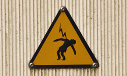 Many areas with high-voltage equipment are thoroughly labeled and cordoned off to keep unauthorized people out.