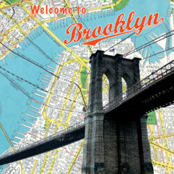 A colorful map of Brooklyn would make a splashy backdrop for an invite to a modern city wedding.