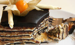 Opera cake consists of many layers of good-tasting sweetness.