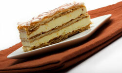 The Napoleon pastry's multiple layers sandwich whipped cream.