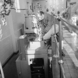 Early (1965) water fluoridation process in Watford, England.