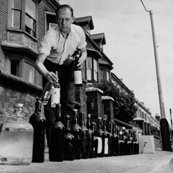 Early on, there were opponents of fluoride in public water supplies. This man from Birmingham, England, collects water from his friends in Warwickshire in 1964.