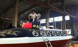 A retired prison officer's self-made submarine called 'Shenlong II' in Fuyang, Anhui, China. The submarine can hold up to 12 passengers.