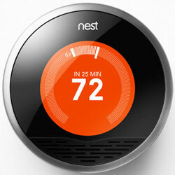 The Nest Learning Thermostat combines an attractive design and learning algorithm to make turning on the air conditioning cool in more ways than one.