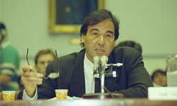"""JFK"" director Oliver Stone testifies before a House subcommittee to seek the release of documents concerning President Kennedy's assassination."