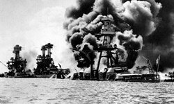 Three U.S. battleships are hit from the air during the Japanese attack on Pearl Harbor on Dec. 7, 1941.