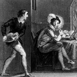 This engraving depicts the tale of Sir Walter Raleigh's servant dousing him with water, thinking Raleigh is on fire as he smokes a pipe.