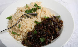Cuban-style beans and rice makes a perfect addition to any Thanksgiving spread.