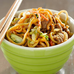 You can add just about any meat to your Thanksgiving lo mein, from beef to turkey!