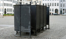 Public urinals like this one are popular in Europe.