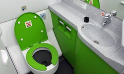 Airplane lavatories aren't necessarily luxurious, but they're there for you when you need to go.