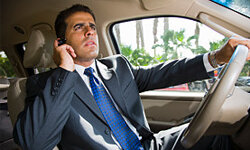 Studies suggest that talking on a cell phone while driving roughly quadruples a person's risk of being involved in a crash.