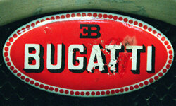 The sign of the traditional Italian company Bugatti is seen on an old timer in the museum in Munich, Germany.
