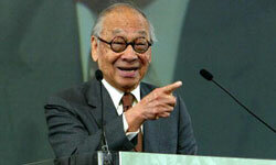 I.M. Pei speaks at the Ellis Island Museum in New York City in 2004.