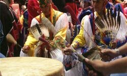 Drums used at powwows are large enough for several people to play together.