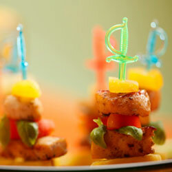 Mini skewers come in lots of different shapes and colors, so you can incorporate them into your party's theme.