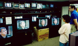 The world watched as Oliver North testified in the Iran-Contra hearings in 1987.