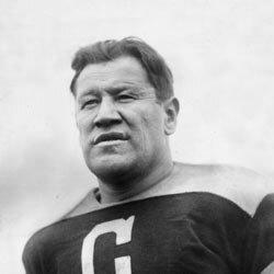 A circa 1925 shot of athlete Jim Thorpe wearing a Canton Bulldogs football jersey.