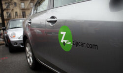 A Zipcar is parked in the Brooklyn borough of New York City on April 13, 2011.
