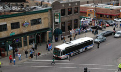 A Chicago Transit Authority (CTA) bus approaches the corner of Clark and Addison streets prior to a game between the Arizona Diamondbacks and the Chicago Cubs at Wrigley Field in Chicago, Ill.