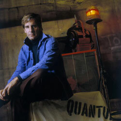 "Actor Scott Bakula posing on the California set of ""Quantum Leap"" in 1990."