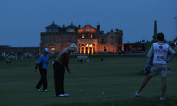 Putting in the dark at St. Andrews Golf Course in Scotland