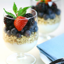 A parfait made with Greek yogurt, granola, honey and fresh fruit is a cinch to prepare.