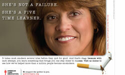 The American Lung Association is eager to help, even running smoking cessation ads to help smokers stop lighting up.