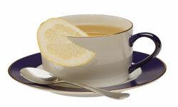 Hot tea with lemon is a winning combination.