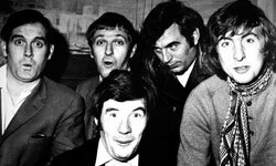 "The British comedy troupe ""Monty Python,"" shown here in a 1969 promotional photo, influenced a new form of comedy."
